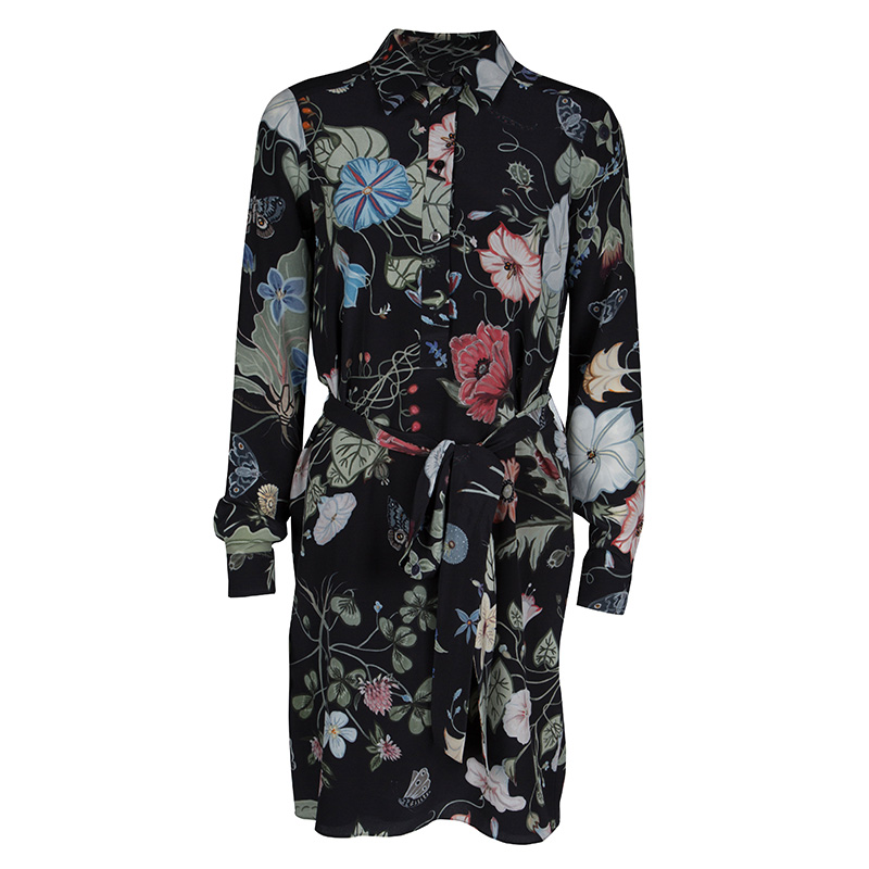 5fb2268d28c Buy Kris Knight For Gucci Black Floral Printed Silk Belted Dress S ...