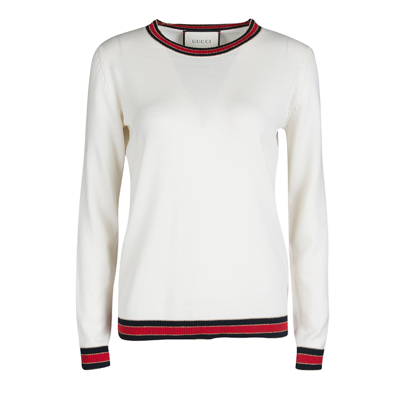 11b3dccfd237b7 ... Gucci Cream Wool Lurex Web Trim Long Sleeve Crew Neck Sweater L.  nextprev. prevnext
