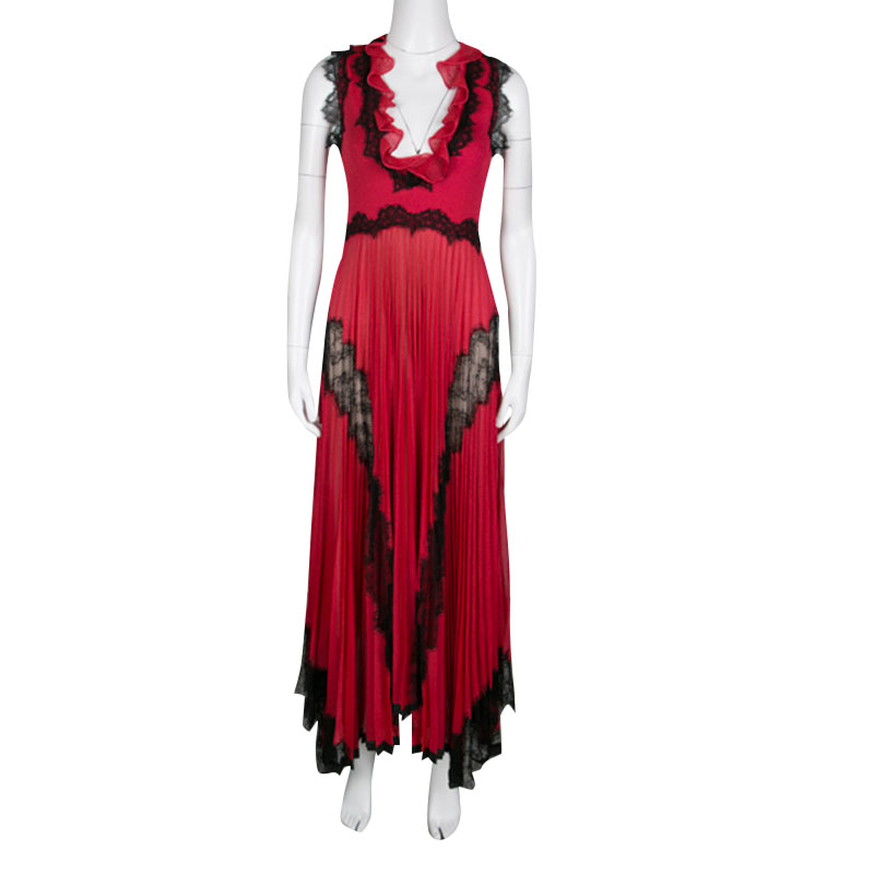 Gucci Red Lurex Knit Contrast Lace Ruffle and Pleat Detail Sleeveless Gown