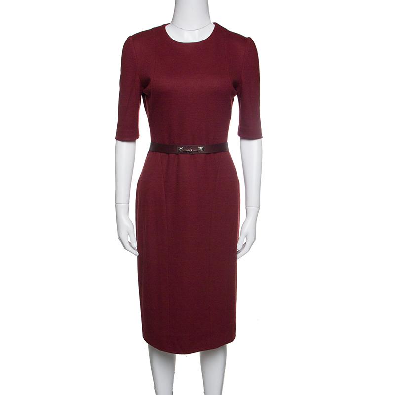 30a316d89 Buy Gucci Red Wool Horsebit Buckle Detail Belted Short Sleeve Dress ...