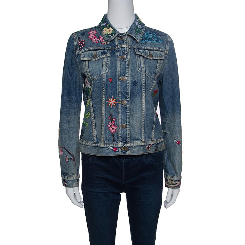 077fccfb9f30a ... Gucci Blue Faded Effect Embroidered Denim Jacket M. nextprev. prevnext
