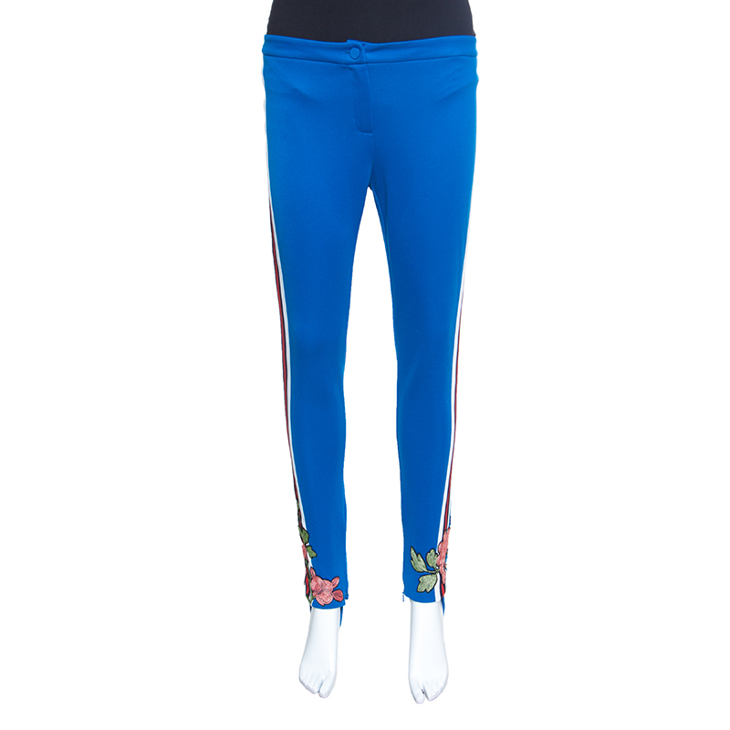 8aa791be030c ... Gucci Blue Side Stripe Detail Floral Embroidered Kelly Stirrup Track  Pants S. nextprev. prevnext
