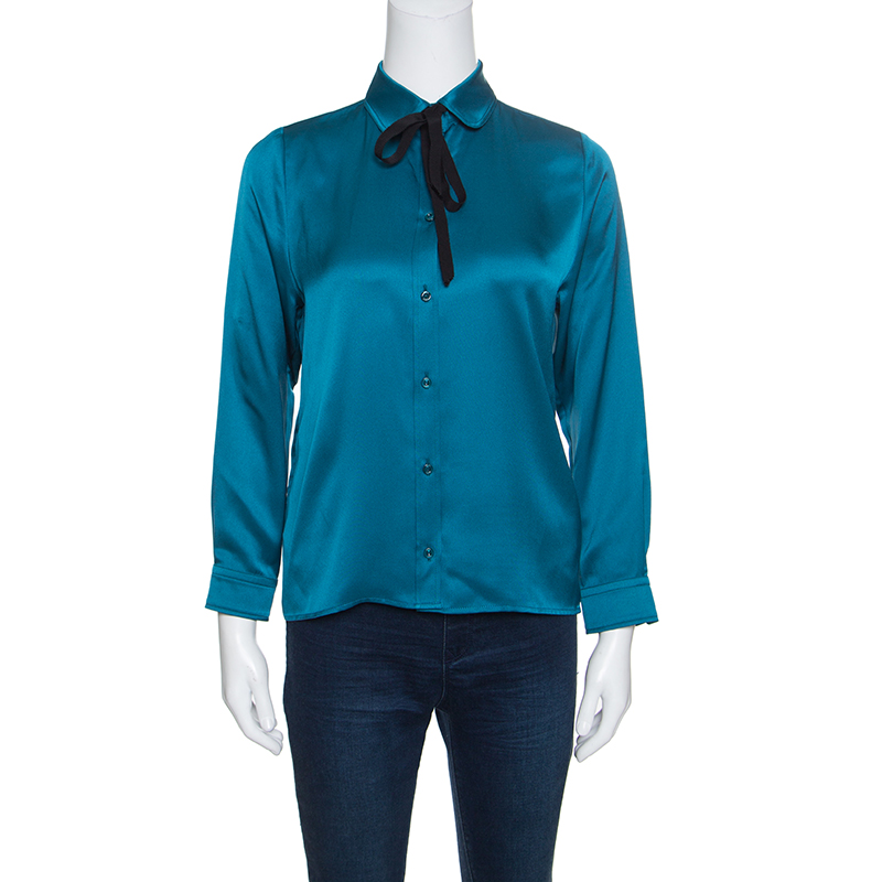 bf3489d12a8181 Buy Gucci Peacock Blue Silk Satin Ribbon Tie Detail Long Sleeve ...