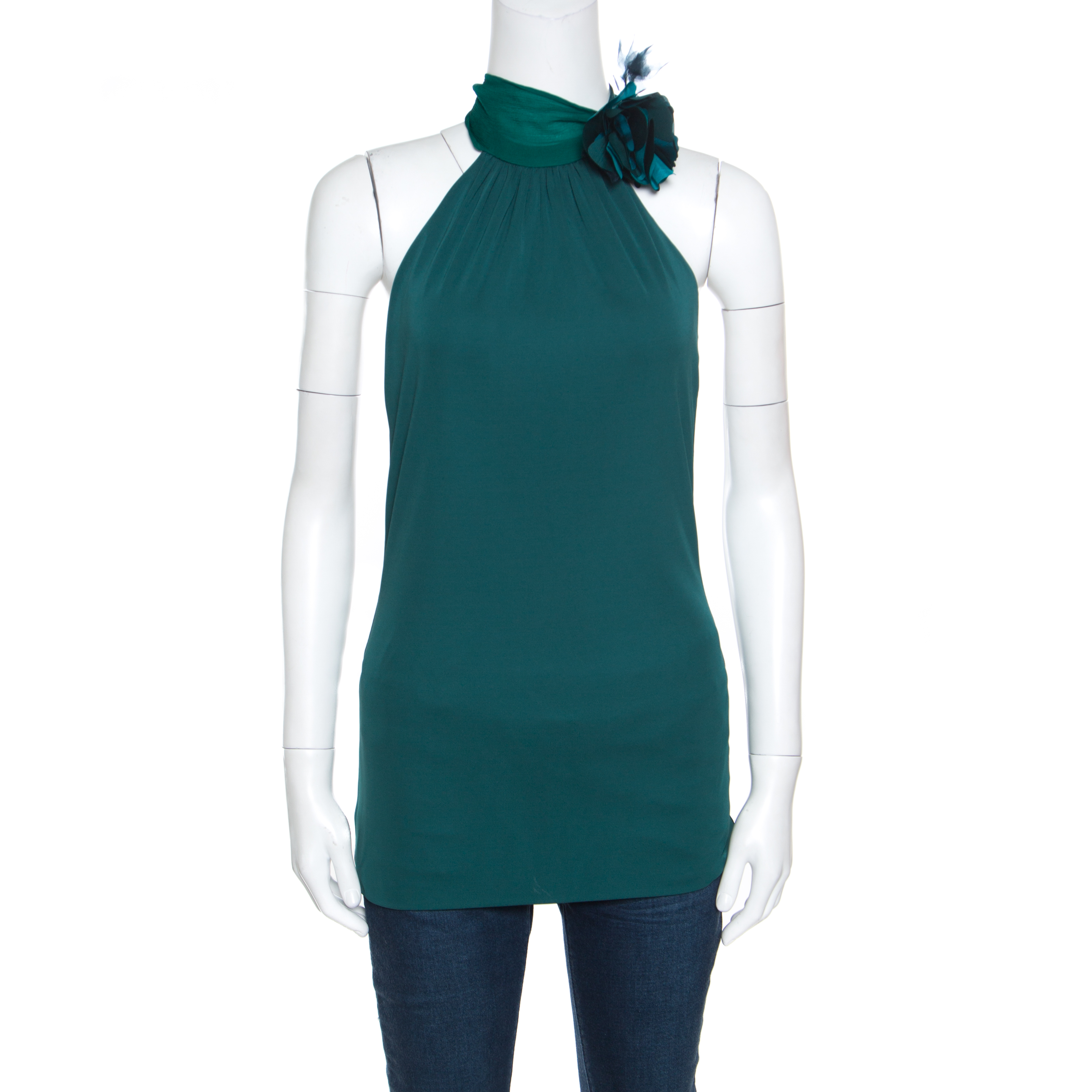 Купить со скидкой Gucci Emerald Green Knit Silk Orchid Flower Applique Halter Top L