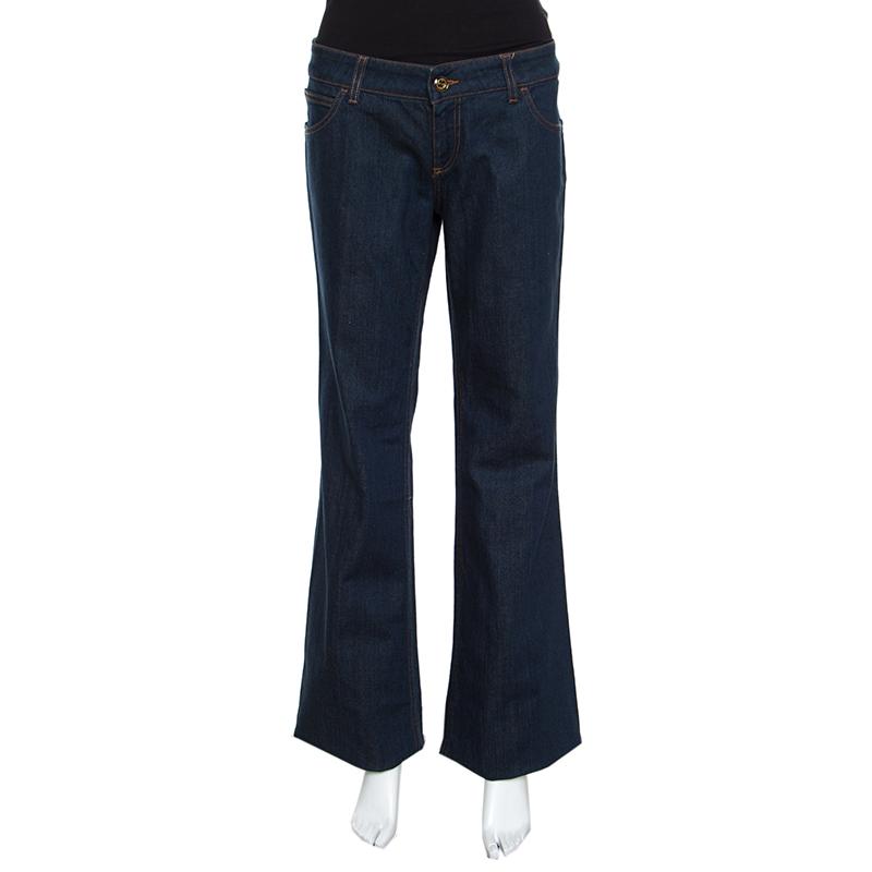 Gucci Indigo Dark Wash Faded Effect Denim Flared Jeans L