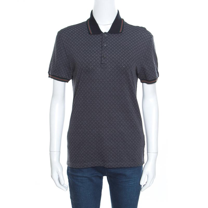 ae16838c9 Buy Gucci Grey Cotton Jacquard Striped Web Trim Polo T-Shirt XS ...