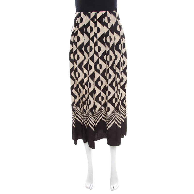 Gucci Monochrome Geometric Pattern Printed Silk Crepe de Chine Midi Skirt M
