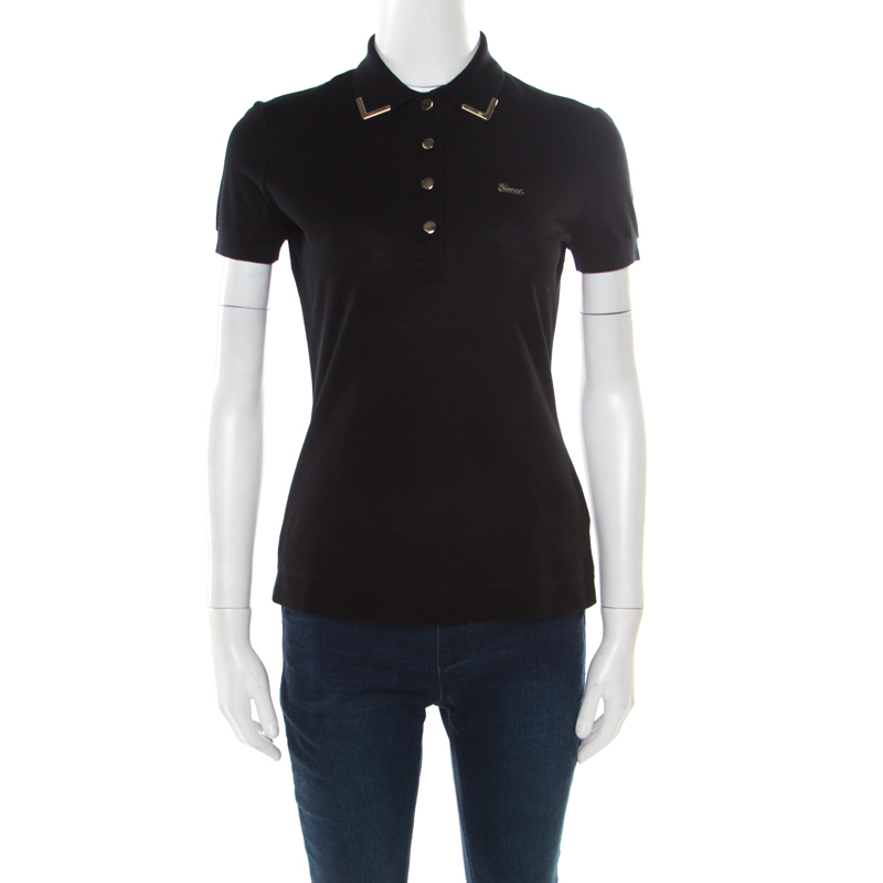 ffb5a0a98 ... Gucci Black Honeycomb Knit Metal Tipped Collar Polo T-Shirt XS.  nextprev. prevnext