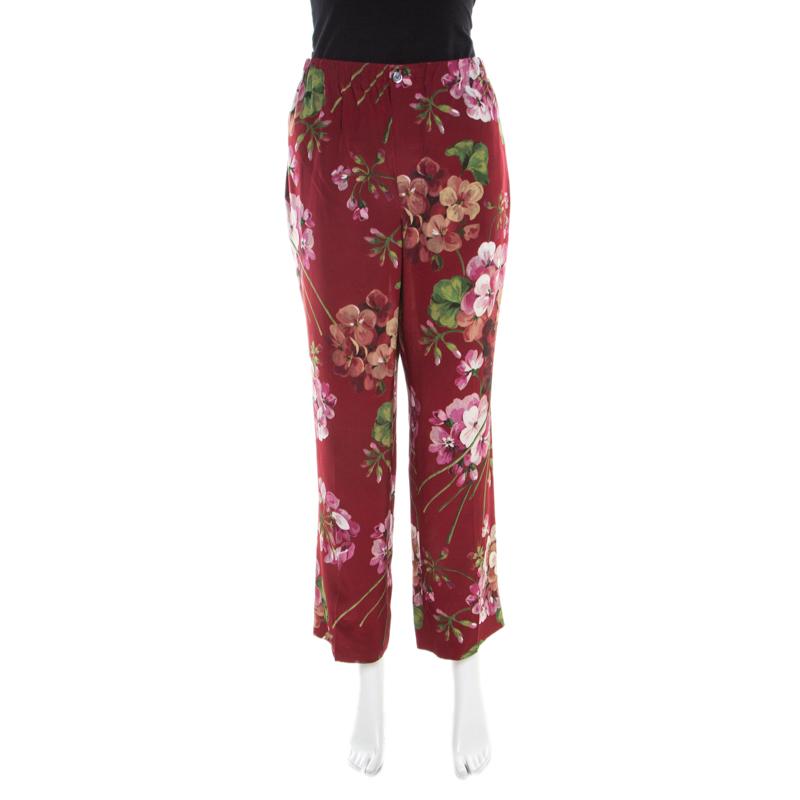 Gucci Maroon Cerise Blooms Printed Silk Crepe de Chine Pajama Pants L