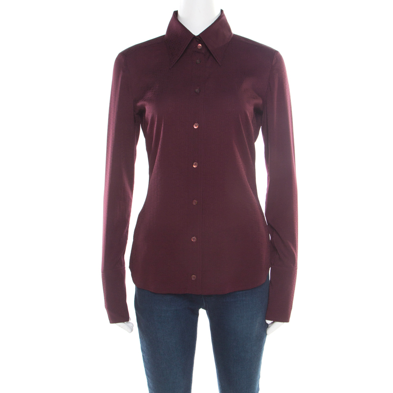 18206004c72 Buy Gucci Burgundy GG Logo Detail Long Sleeve Shirt M 182692 at best ...