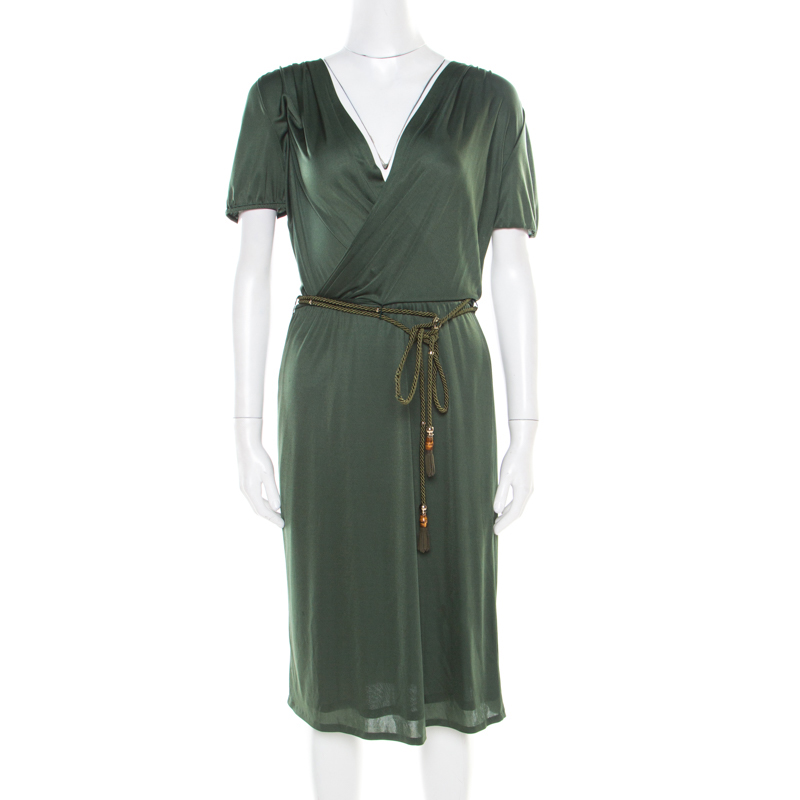 667b800dc ... Gucci Forest Green Plunge Neck Belted Wrap Dress M. nextprev. prevnext