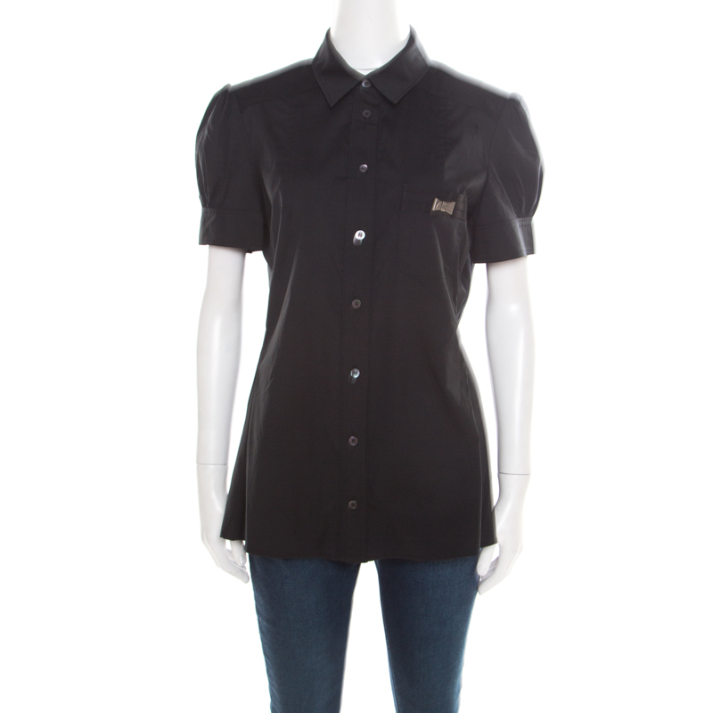 8067be0d4 ... Gucci Black Cotton Bow Brooch Detail Short Sleeve Shirt L. nextprev.  prevnext