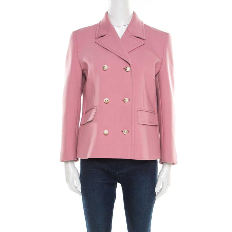 Gucci Dusty Pink Wool Logo Button Detail Double Breasted Blazer L