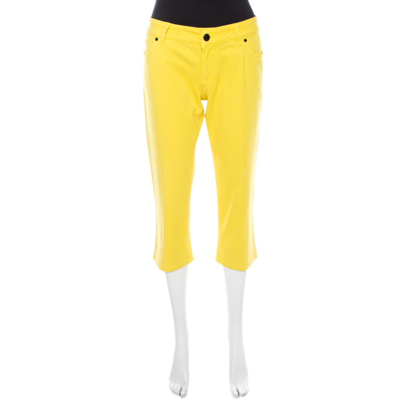 Pre-owned Gucci Yellow Denim Cropped Jeans M