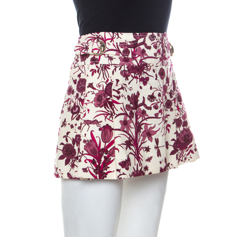 Купить со скидкой Gucci Beige and Purple Floral Print Cotton Pleated Mini Skirt M
