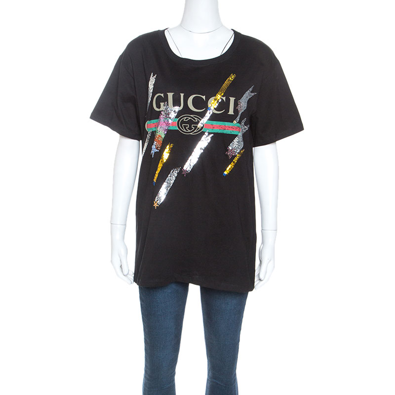 Gucci Black Logo Printed Cotton Embellished Detail T-shirt S