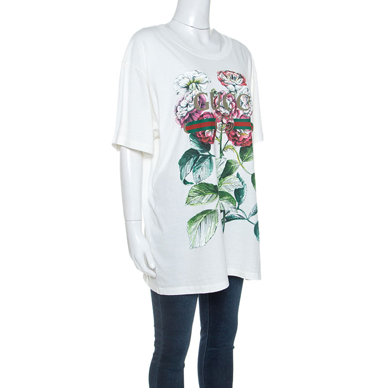 Gucci White Floral Logo Printed Cotton T-Shirt