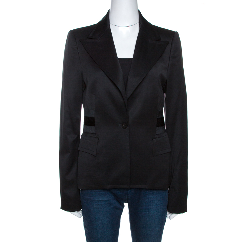 Gucci Black Stretch Wool Tailored Blazer M