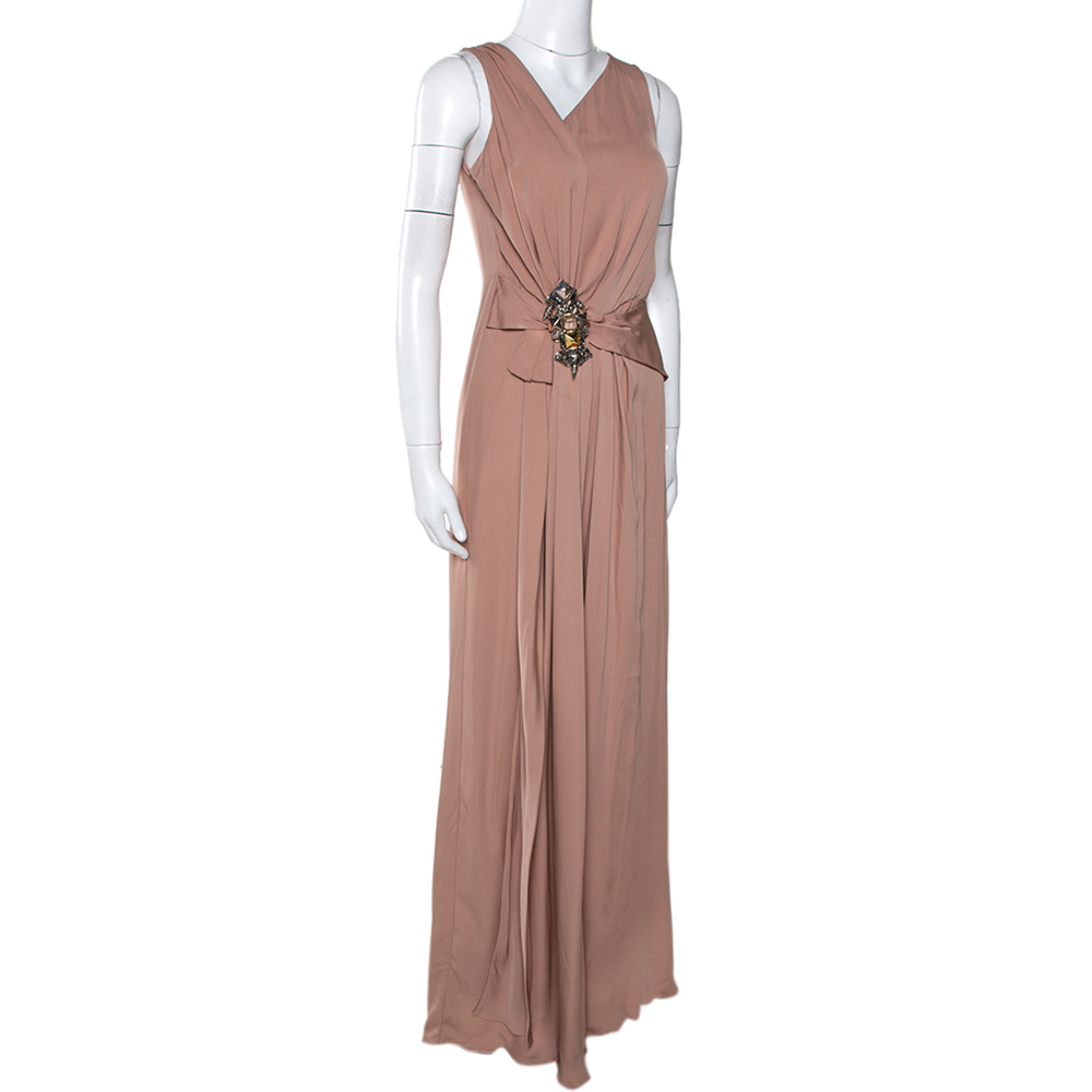 Gucci Pale Pink Silk Crepe Brooch Detail Draped Gown