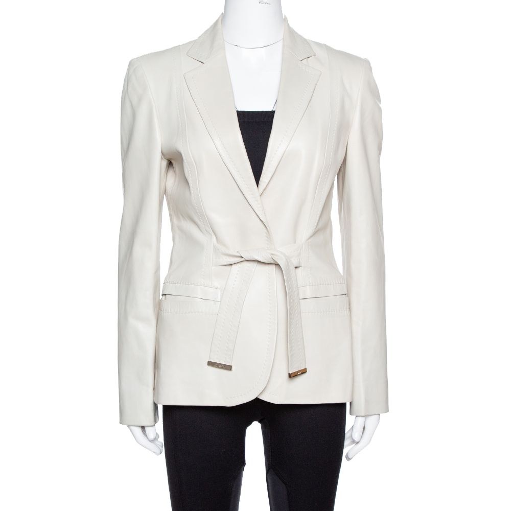 Pre-owned Gucci Pale Beige Leather Tie Front Blazer M