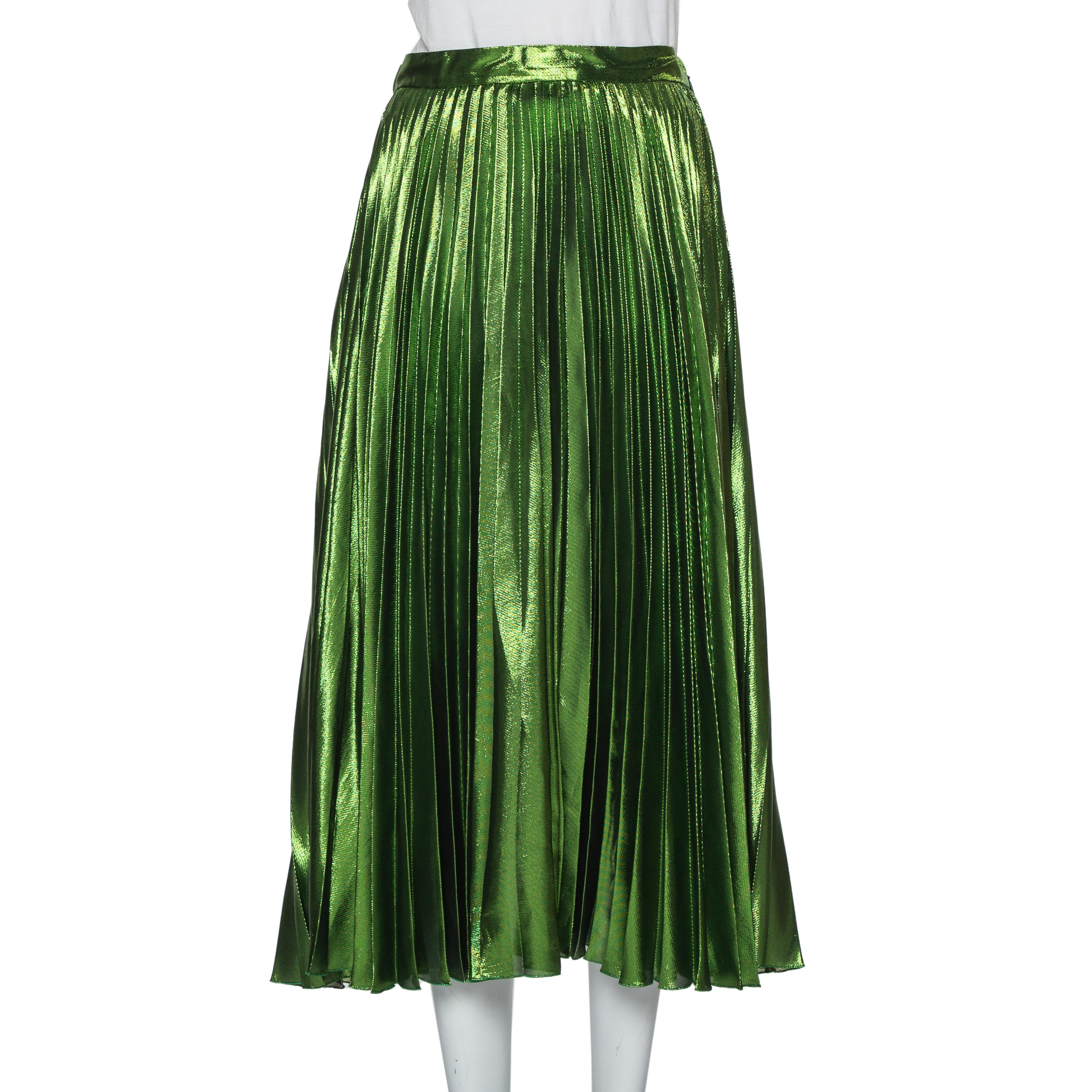 Pre-owned Gucci Green Lurex Plisse Silk Midi Skirt M
