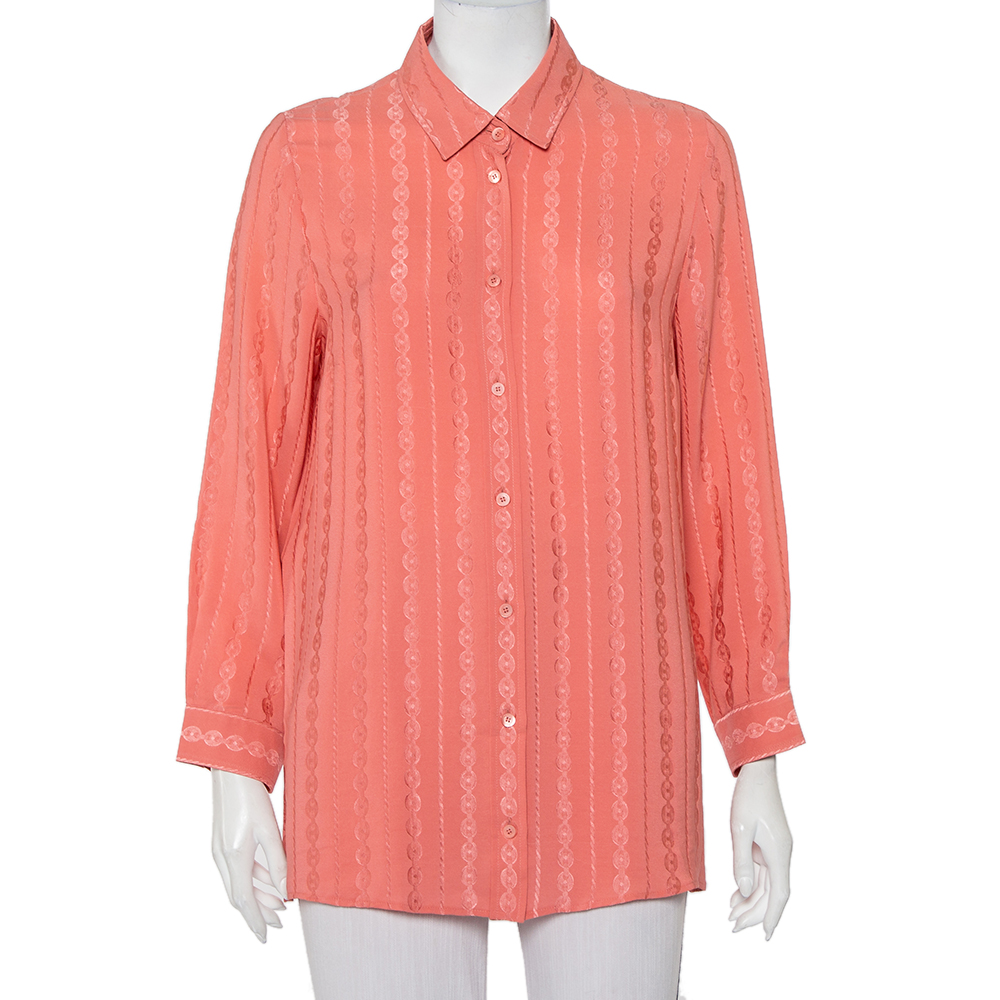 Pre-owned Gucci Pink Silk Jacquard Button Front Shirt L