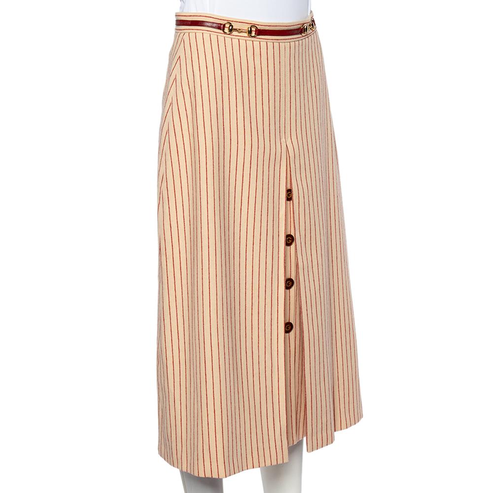 Gucci Cream Striped Wool Horsebit Detail Midi Skirt S