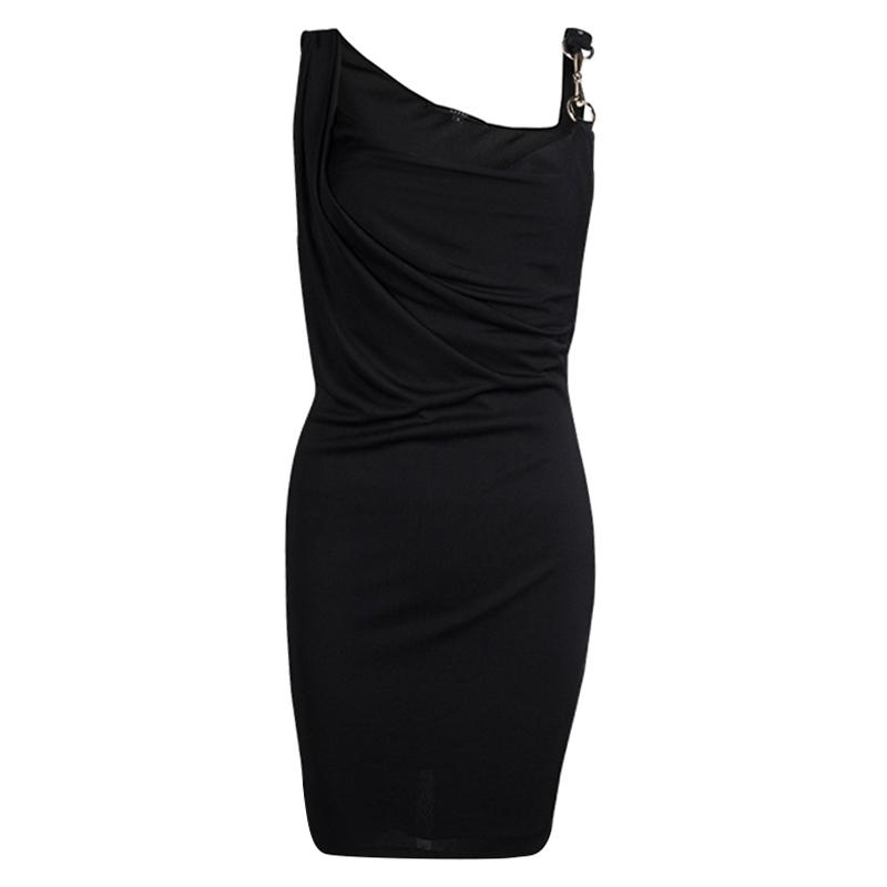 Gucci Black Horsebit Detail Sleeveless Draped Dress S