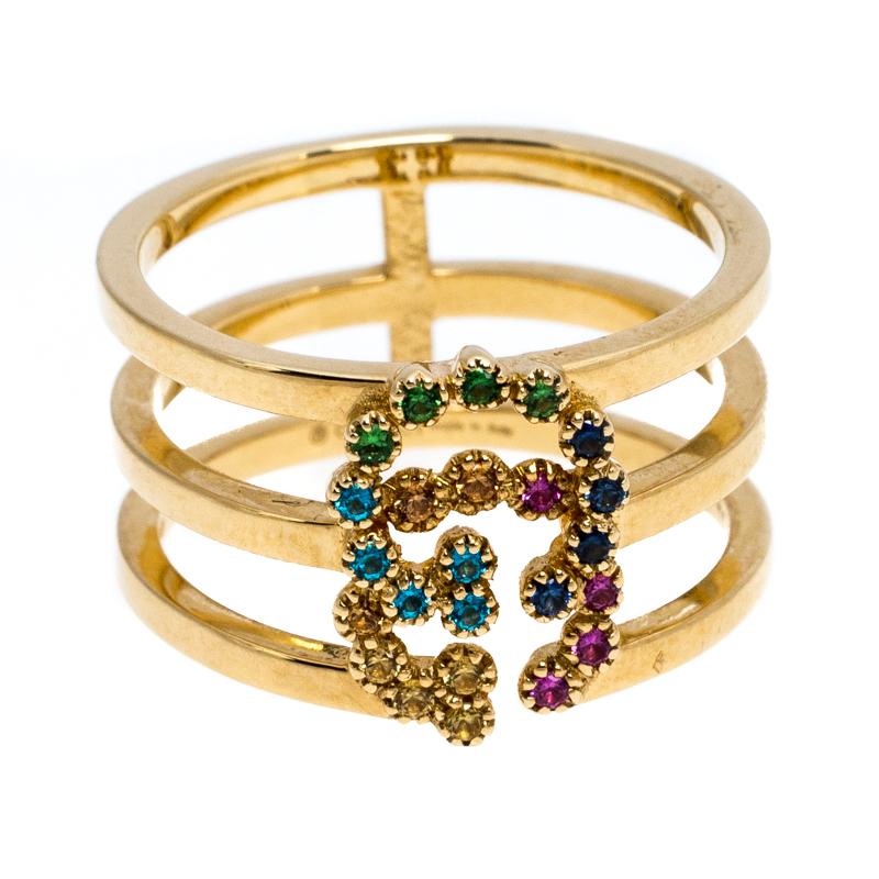 Gucci GG Exécution Multicolore Pierres précieuses en Or Jaune 18 carats Taille de l'Anneau de 50,5