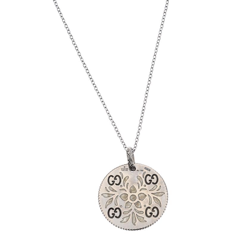 Gucci Icon Bloom Floral Motif Enamel Two Tone 18K Gold Pendant Necklace