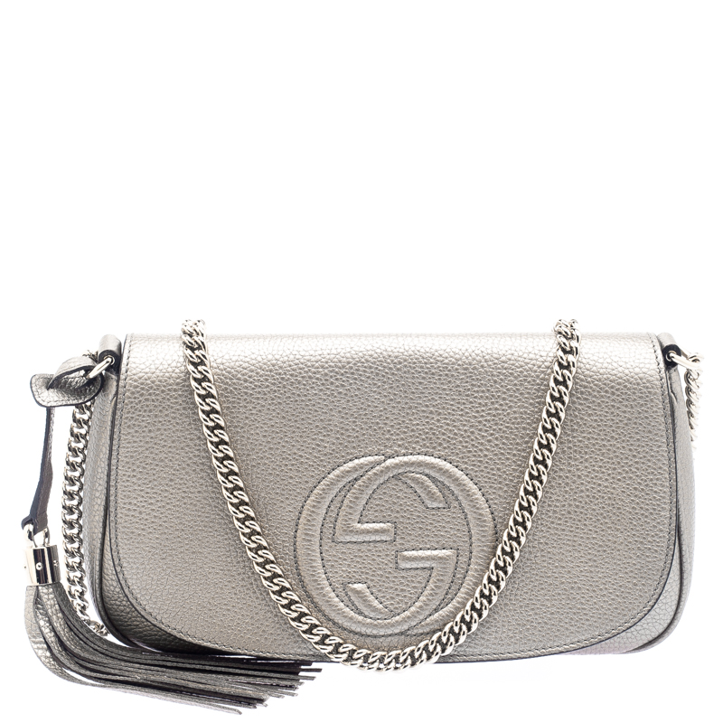 c72153f88 ... Gucci Metallic Grey Leather Medium Soho Crossbody Bag. nextprev.  prevnext