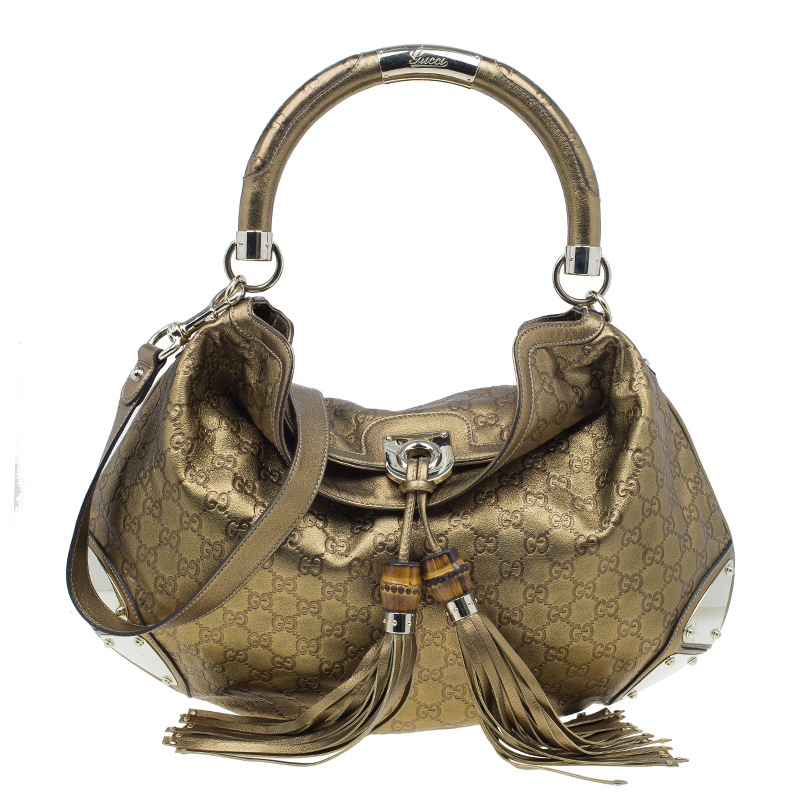 7b71650b340 ... Handle Bag Nextprev Prevnext. Gucci Metallic Gold Guccissima Leather  Large Babouska Indy Top