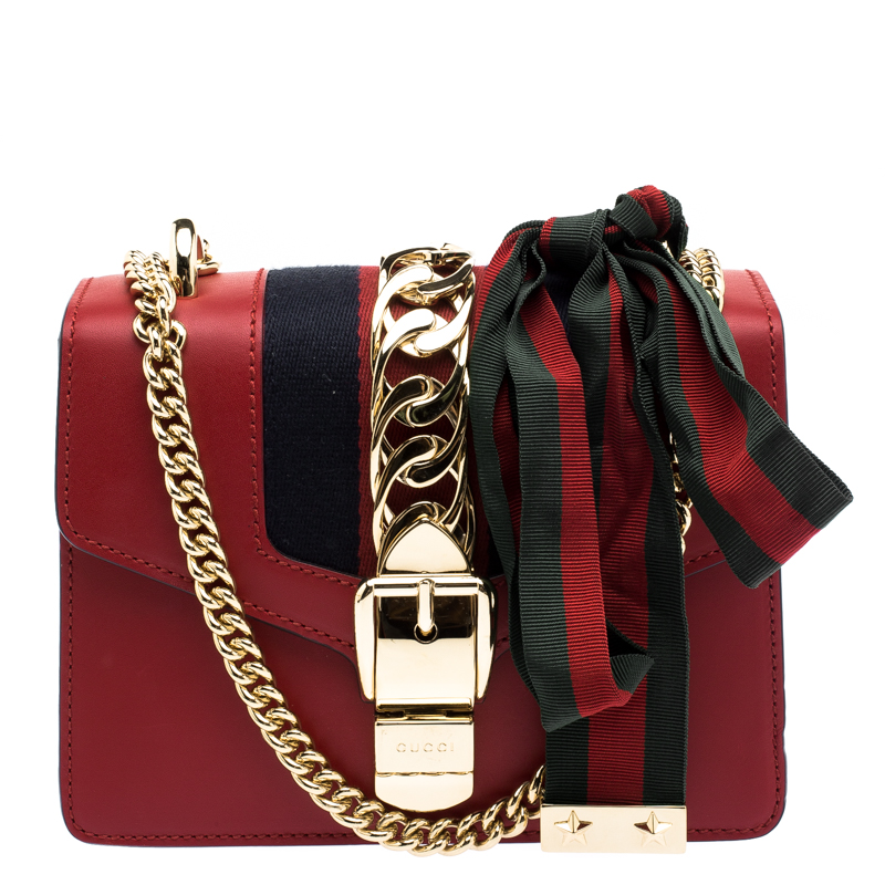 f2dd3f69a665 Buy Gucci Red Leather Mini Web Chain Sylvie Shoulder Bag 103378 at ...