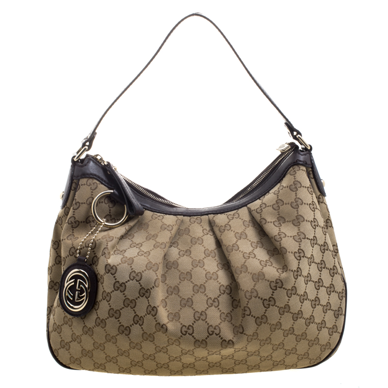 3da381d9d93 Buy Gucci Beige GG Canvas Medium Sukey Hobo 104599 at best price