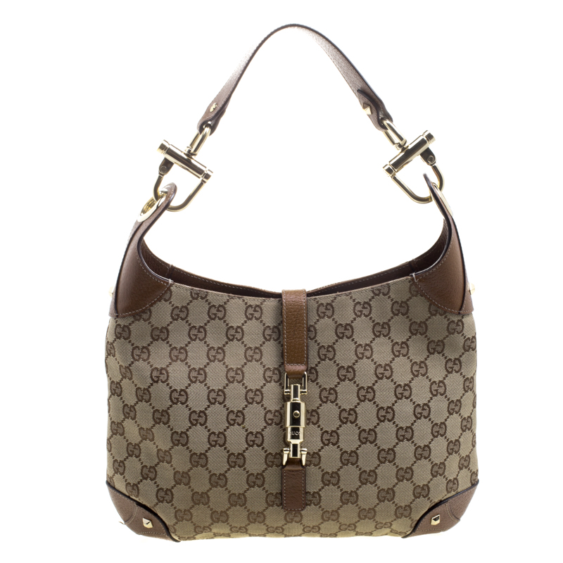 74993dc71665 ... Gucci Brown/Beige GG Canvas and Leather New Jackie Hobo. nextprev.  prevnext
