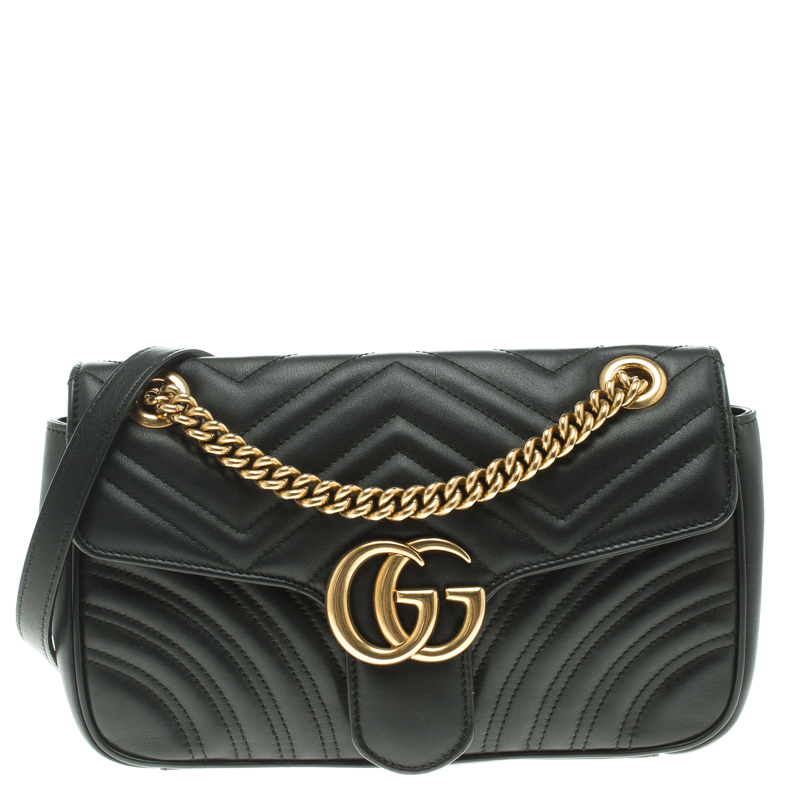 aa066853f07a7 Buy Gucci Black Matelasse Leather Small GG Marmont Shoulder Bag ...