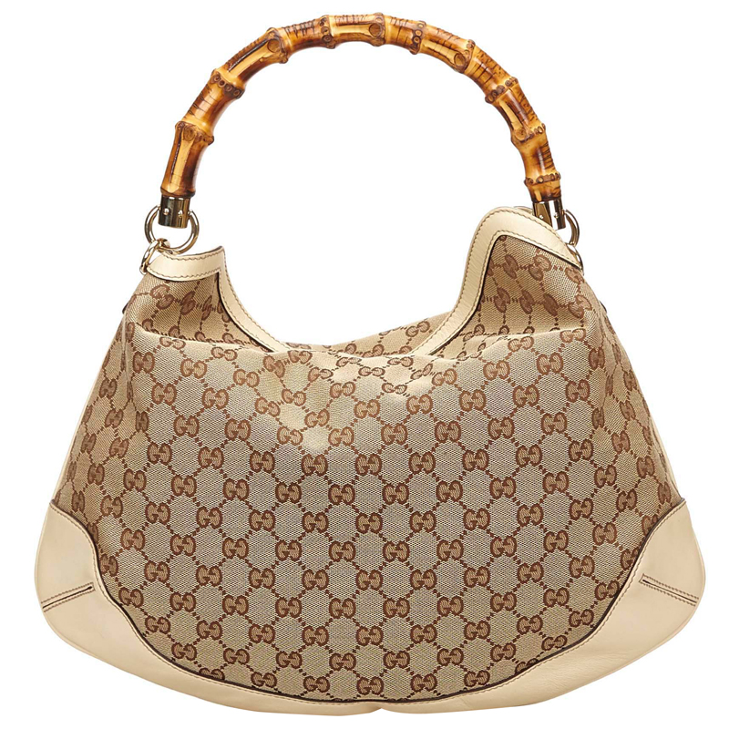 267074a2ce87 ... Gucci Beige/Ebony GG Canvas/Leather Peggy Bamboo Top Handle Bag.  nextprev. prevnext