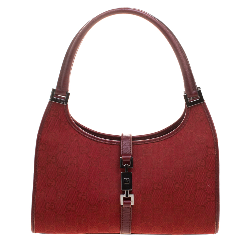 e6bfbe736ae Gucci Red Gg Canvas Jackie O Shoulder Bag 112066 At Best Tlc