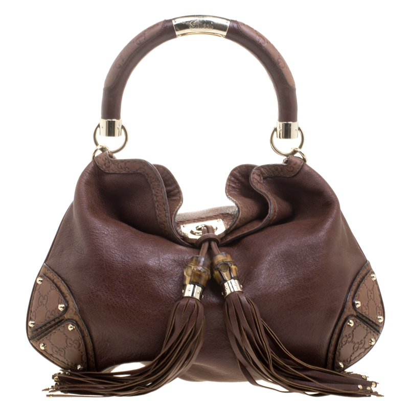 1293bb0d384 Buy Gucci Brown Leather Medium Babouska Indy Top Handle Bag 112615 ...