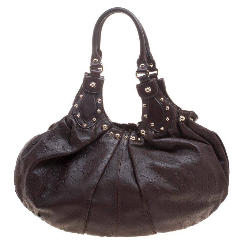 88dcb48800c ... Gucci Dark Brown Guccissima Leather Medium Pelham Studded Hobo.  nextprev. prevnext