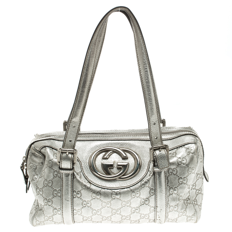0f59d820fea Buy Gucci Silver Guccissima Leather Britt Boston Bag 114303 at best ...