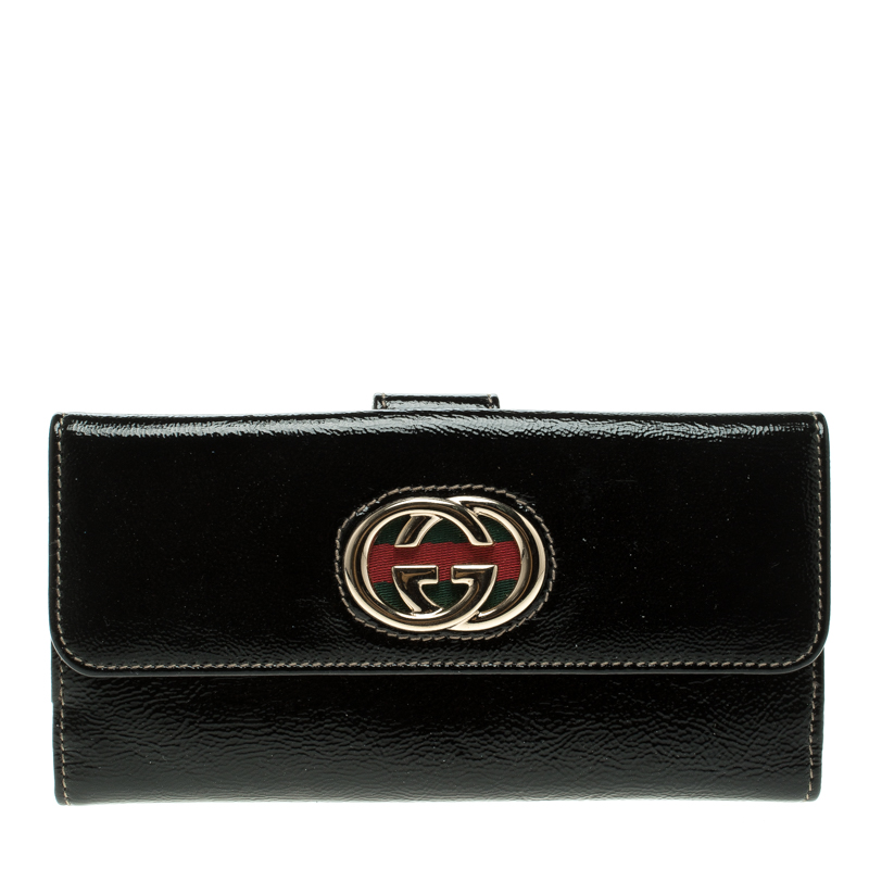 d78065c6e25 ... Gucci Black Patent Leather Web Britt Continental Wallet. nextprev.  prevnext
