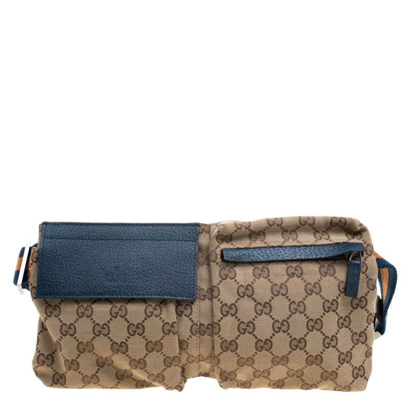 ff9fb10846c1 Buy Gucci Beige Blue GG Canvas Waist Belt Bag 115871 at best price