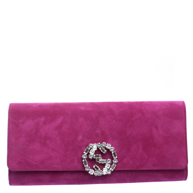 5aea7214bb1a ... Gucci Pink Suede Broadway Crystal Closure Clutch. nextprev. prevnext