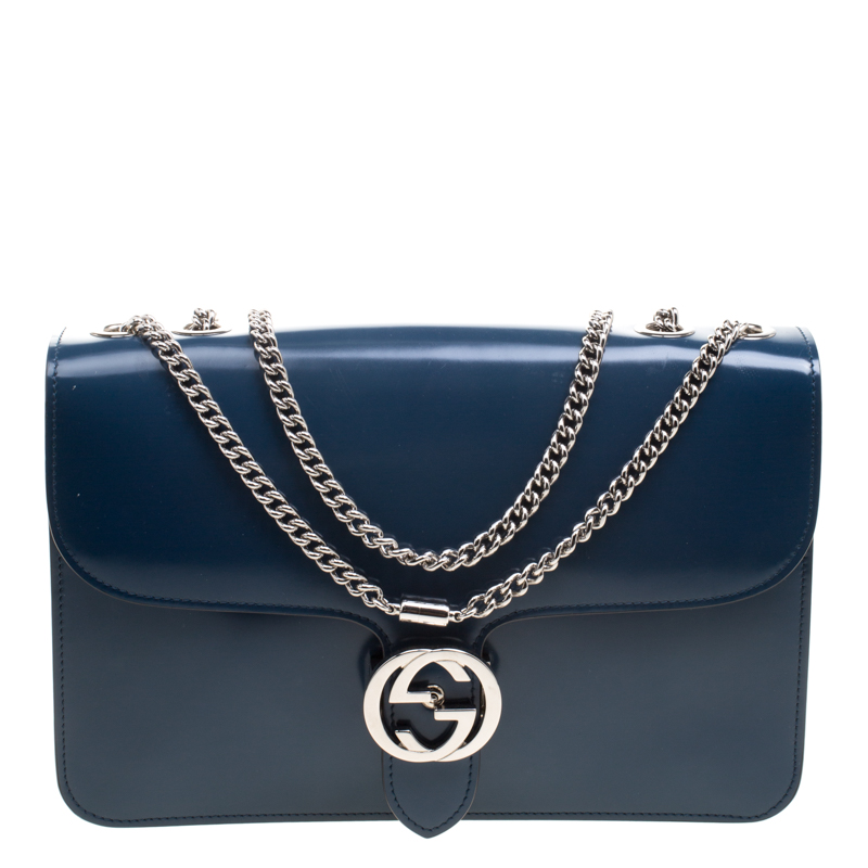 c528ca77081 Buy Gucci Prussian Blue Patent Leather GG Interlocking Shoulder Bag ...