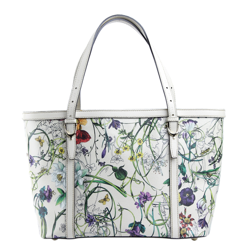 627338cce71dae Buy Gucci White Floral Print Leather Nice Tote 117304 at best price ...