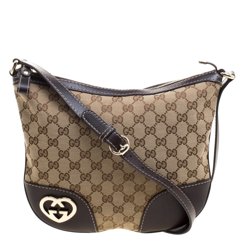 17c748c121e Buy Gucci Beige Brown GG Canvas and Leather Lovely Heart Crossbody ...