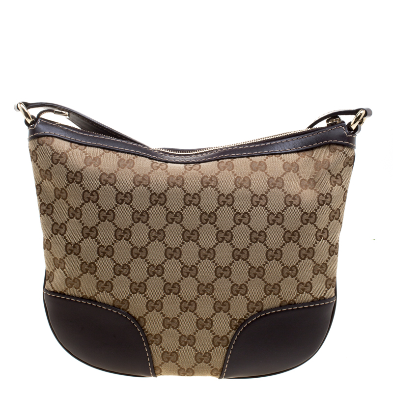Gucci Beige/Brown GG Canvas and Leather Lovely Heart Crossbody Bag