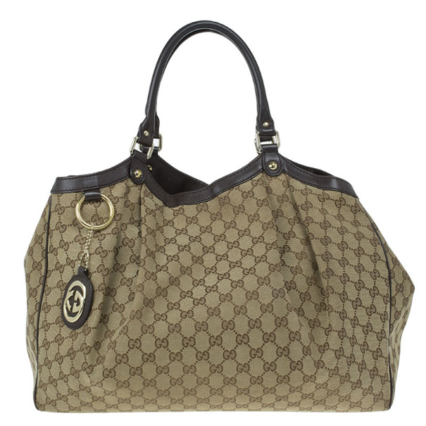 0ff8c8cae292 Buy Gucci Beige Monogram Canvas Large Sukey Bag 11773 at best price ...