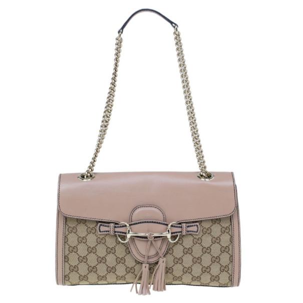 66e7eb3cc ... Gucci Beige Monogram Emily Chain Medium Shoulder Bag. nextprev. prevnext